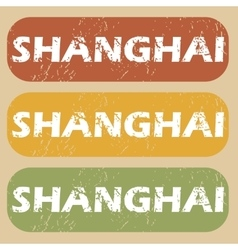 Vintage shanghai stamp set vector