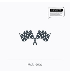 Crosswise racing flags icon finishing symbol vector