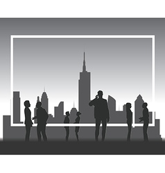 Silhouette people with copyspace frame vector