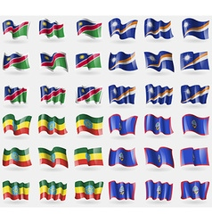 Namibia marshall islands ethiopia guam set of 36 vector