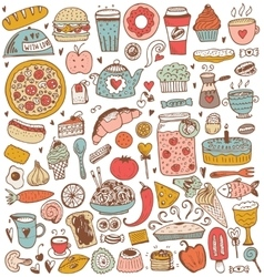 Food sketch elements collection vector