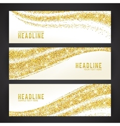 Set of banners with golden confetti theme vector