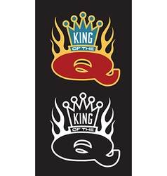 King of the Q Barbecue emblem vector image