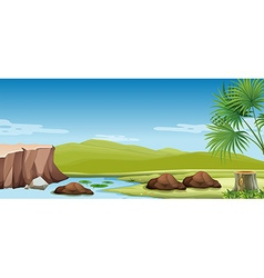 Nature scene of the river and field vector