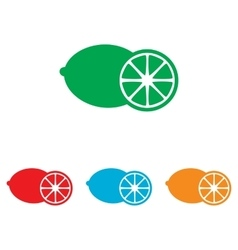 Fruits lemon sign colorfull set vector