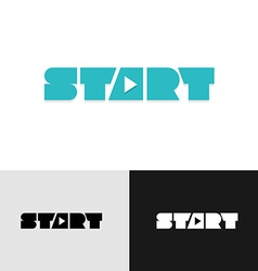 Start word text logo with play triangle symbol vector