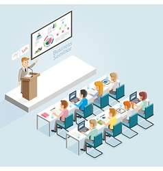 Business seminar isometric flat style vector