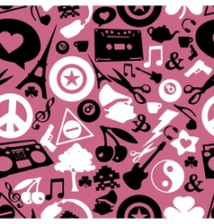 Different objects on pink background vector