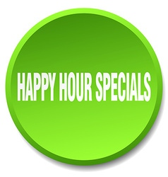 Happy hour specials green round flat isolated push vector