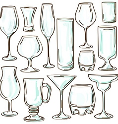 Set of isolated cocktail glasses vector