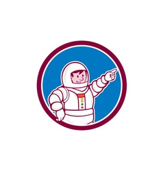 Astronaut Pointing Front Circle Cartoon vector image