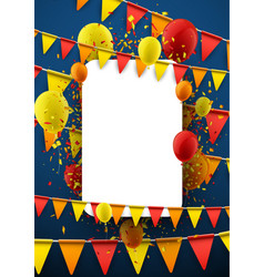background with flags and balloons vector image