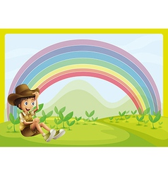 Boy and rainbow vector image vector image