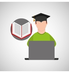 character graduation e-learning online education vector image