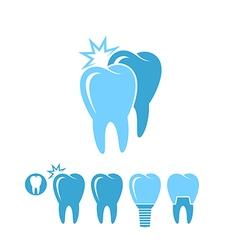 Dental hygiene isolated teeth on white vector