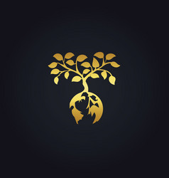Earth plant tree nature gold logo vector