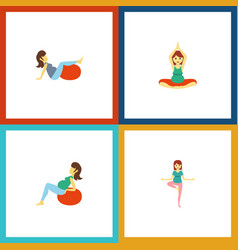 Flat icon pregnancy set of lady pose yoga and vector