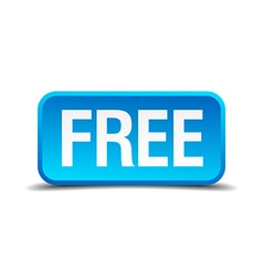 free blue 3d realistic square isolated button vector image