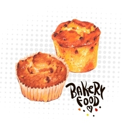 Hand drawn baking muffins vector image