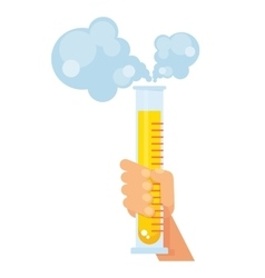 hand holds test tube with reagent vector image