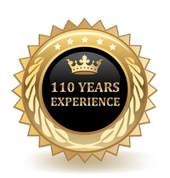 Hundred and ten years experience badge vector