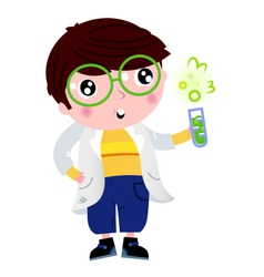 Little scientist holding laboratory flask vector