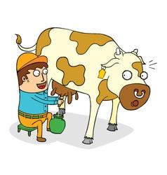 Man milking cow vector
