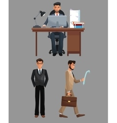 Man sitting work desk and men walk suit vector