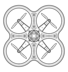 Outline quadcopter drone vector