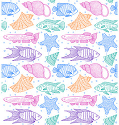 pattern with fishes and shells vector image vector image