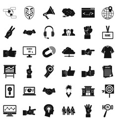 Person gesture icons set simple style vector