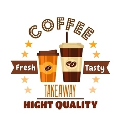 Premium takeaway coffee drinks symbol design vector image