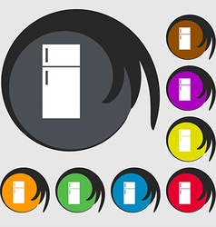Refrigerator icon sign Symbols on eight colored vector image vector image