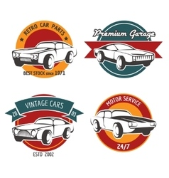 Retro car service badges vector image