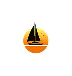 sailing boat sunset logo vector image vector image