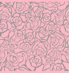 seamless retro background with pink roses vector image vector image