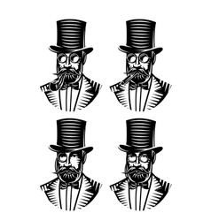 set monochromatic gentlemen with different vector image
