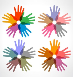 Set of colorful hand print icons vector