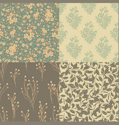 Set of floral backgrounds in vintage style vector