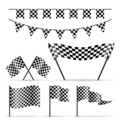 set of sport checkered flags vector image vector image