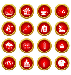 Snowboarding icon red circle set vector