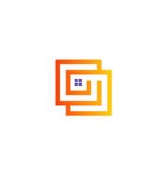 Square line home logo vector