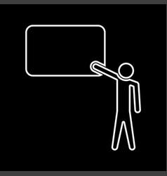 teacher standing near whiteboard white color icon vector image
