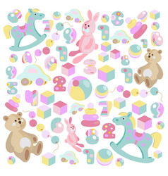Teddy bear rocking horse pink rabbit toys set vector
