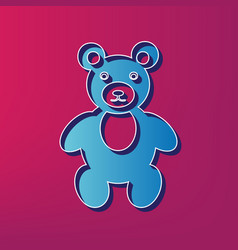 Teddy bear sign blue 3d vector
