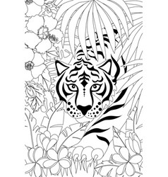 tiger outline vector image