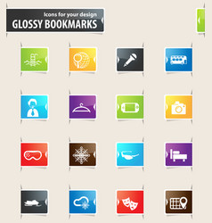 travel bookmark icons vector image