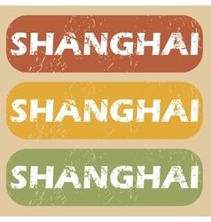 Vintage shanghai stamp set vector