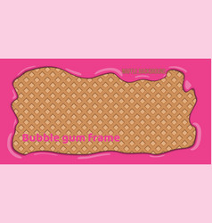 wafer background with pink bubble gum frame vector image vector image