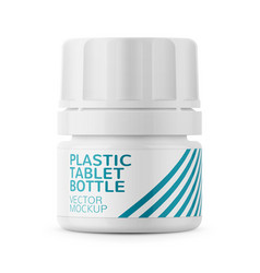 White plastic tablet bottle template vector